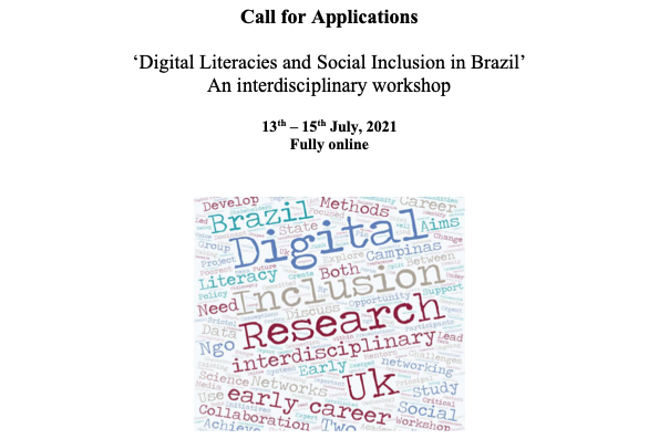 Chamada workshop 'Digital Literacies and Social Inclusion in Brazil'